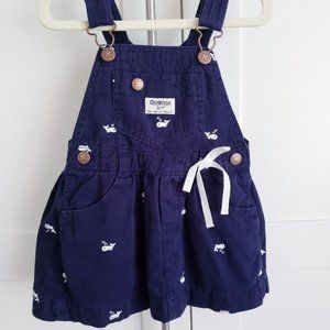 Oshkosh Overall Dress Whale Vestbak 3T Blue Bow